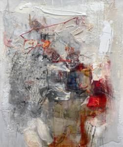 Illusion 2020, Collage Mischtechnik, Harz, Öl auf Leinwand, 120x100cm